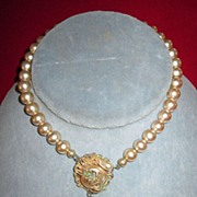 Faux 10mm Pearl Choker with Pendant