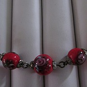 Czech Red Art Glass Beaded Choker