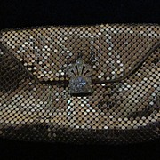 Whiting Davis Gold Mesh Evening Clutch with Rhinestone Latch
