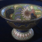 Stunning Gouda Arts and Crafts Footed Bowl, as is