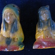 Old Chalkware American Indian Chief and Brave Salt and Pepper