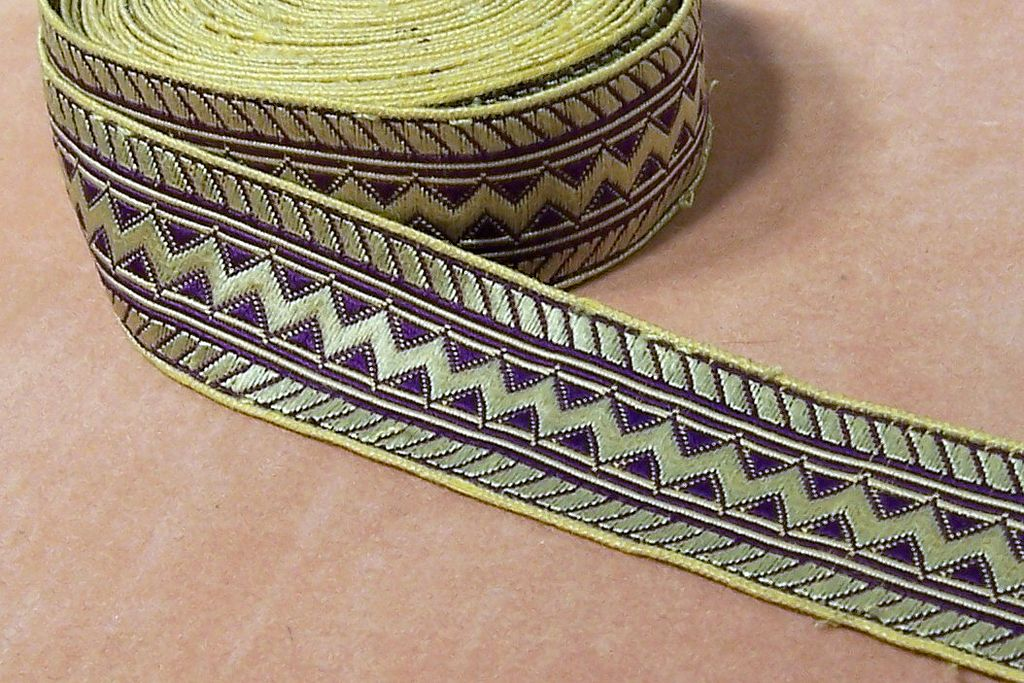 RARE Victorian Royal Purple and Gold Silk Brocade Woven Ribbon