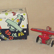 Vintage Tin Toy Training Plane In Original Box Mechanical