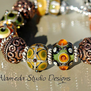 Chaos - Lampwork and mixed metal bracelet