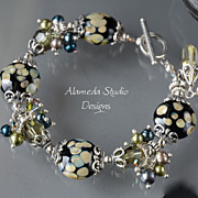Lampwork and Crystal Charm Bracelet