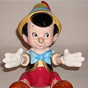 "Rare! 1970's Schmid ""Pinocchio"" Jointed Porcelain Music Box"