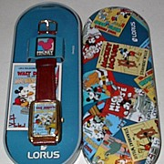 "REDUCED 1995 Lorus ""Building a Building"" Mickey Mouse Cartoon Watch"