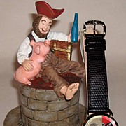 "Rare! 1994 Fossil ""Pirates of The Caribbean"" Limited Edition Watch and Statue"