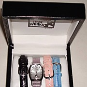"1996 Disney Time Works ""Eeyore"" Interchangeable Band Ladies Watch Set"