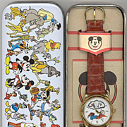 "1992 Fossil ""Goofy"" Disney Store Animated Dial Watch"