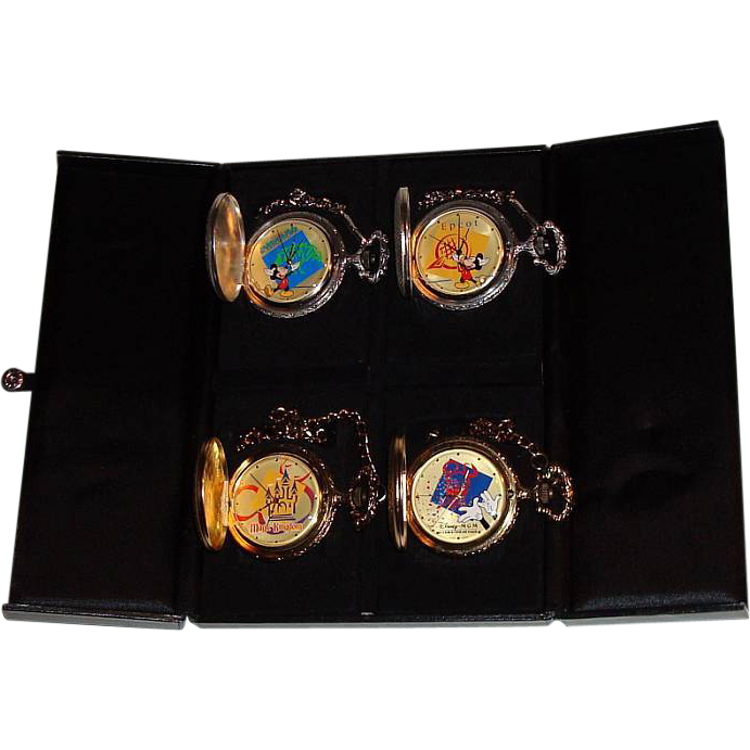 "1994 Majesti ""Walt Disney World; 4 Parks"" Commemorative Swiss 4 pocket Watch Set"