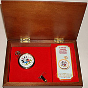 "1996 Fossil ""Mickey and Minnie Mouse"" Collector Club V Limited Edition Pocket Watch"