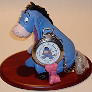 "1995 Fossil ""Eeyore"" Pocket Watch and Display Figurine"