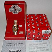 "SOLD 1988 Seiko ""Mickey Mouse"" Tank Style Gold Case Man's Watch"