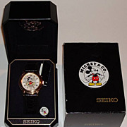 "SOLD Rare! 1997 Seiko ""Mickey Mouse"" Unisex Kinetic Watch, with Date Function"