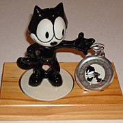 "1994 Fossil ""Felix the Cat"" Limited Edition Pocket Watch and Porcelain Figurine"