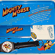 1994 Fossil &quot;Mighty Mouse&quot; Limited Edition Watch and Pin Set