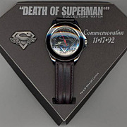 Rare! 1993 Fossil &quot;Superman&quot; Death of Superman Limited Edition Watch, Pin, and Comic