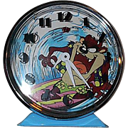 "1989 Warner Bros ""Tazmanian Devil"" Motion Alarm Clock"