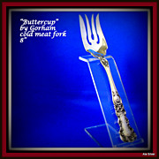Buttercup cold meat serving fork can be used for any form of meat & is in solid sterling by Go