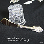 Grande Baroque master butter knife with sterling handle by Wallace