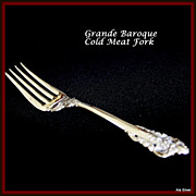 Grande Baroque cold meat serving fork in solid sterling by Wallace
