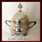 SALE Repousse engraved covered butter dish with insert, ca 1860�s
