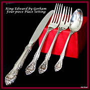 King Edward four-piece place setting in sterling by Gorham