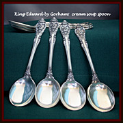 King Edward cream soup spoon in sterling by Gorham