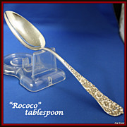 Rococo tablespoon in sterling by Dominick & Haff, ca. 1888