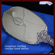 "Hand mirror in sterling silver by Wallace marked ""Sterling & 925"""
