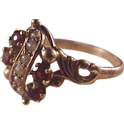 Lovely 9 or 10k Victorian Garnet/Seed Pearl Ring
