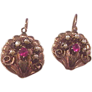Wonderful Victorian 9c Ruby/Pearl Earrings/Rose/Yellow