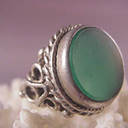 Vintage English Sterling Chrysoprase Ring