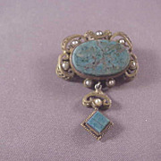 Vintage Brass and Blue Agate pin/Pearls