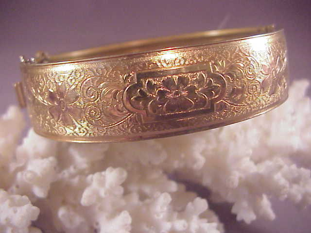 Vintage gf bangle rose gold accents from albie on ruby lane for Naugatuck glass company