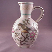 SALE Vintage Gouda Pottery Ewer/Bird & Flowers