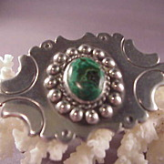 Wonderful Vintage Mexican Sterling & Malachite Pin/980