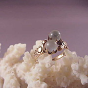 Wonderful Victorian 14k Rose Gold and Moonstone Ring/Size 5 3/4