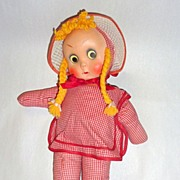 "Vintage Character Novelty Doll - 15"" Charmer in Red & White Checks"