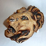 "Antique 19th Century 7"" Lion Head Chalkware Match Holder"