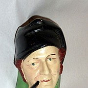 "Vintage 1930's 5"" Chalkware Head - Match Holder Sailor with Pipe"