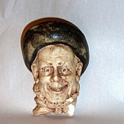 "Antique 5"" Laughing Man's  Head Chalkware Match Holder"