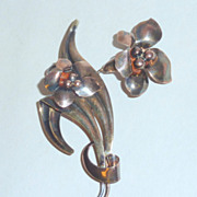3&quot; Art Nouveau 1/20 12K GF on Silver Lily Flowers Brooch