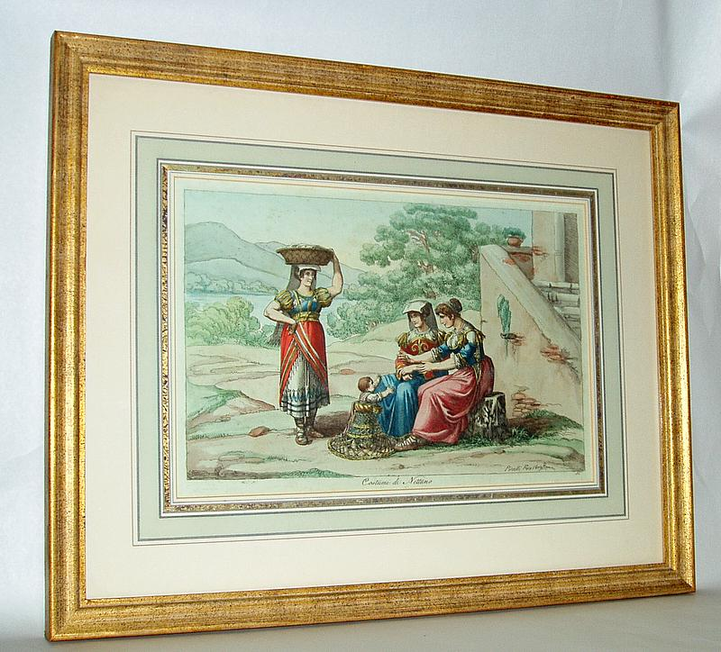Vintage Italian Hand Colored Print Pinelli Fece 1809 Roma, Costumi di Nettuno