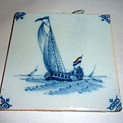 "19th Century Holland 5"" Delft Blue Hand Painted Glazed Tile Ship with Sailor"