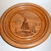 Vintage Wood Burned Plate Latvia - Girl in Traditional Costume