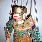 Vintage Carved Teak Wood Burma Marionette 14 Ogre  Demon of the Green Shirt