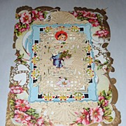"Victorian 11"" Valentine Card Multilayer Paper Doily & Poem Inside"