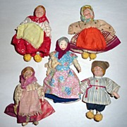 "5 Antique European 4 1/2"" Small Hand Made Dolls Cloth & Composition"